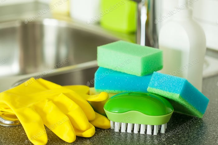 cleaning items household kitchen brush sponge glove