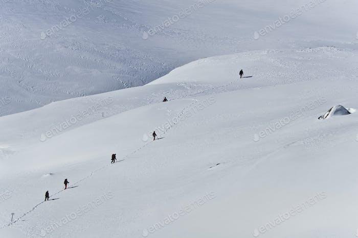 mountain winter tourists