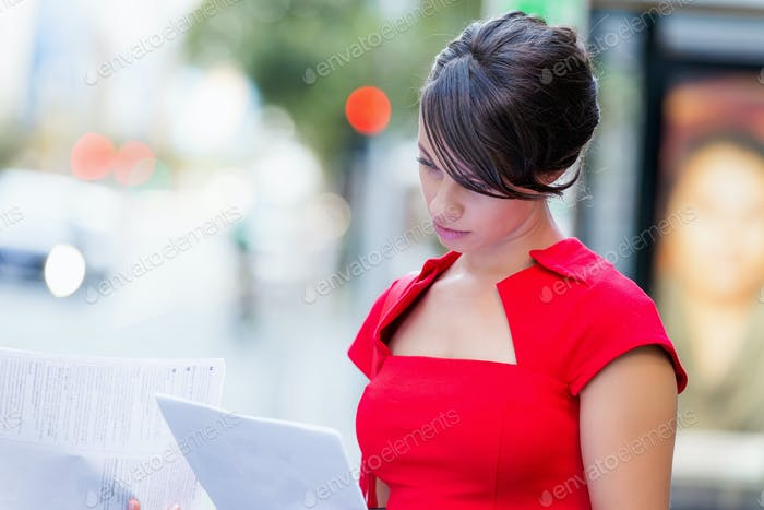 Portrait of businesswoman outside