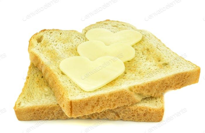 Cheese Hearts on Toast
