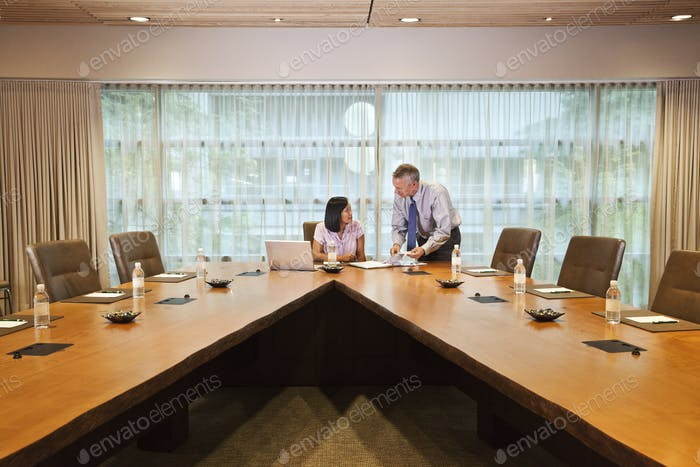 Asian businesswoman and caucasian businessman meeting in a conference room