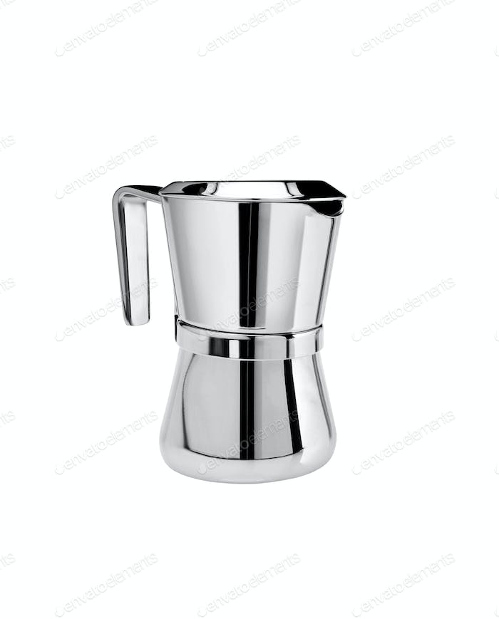 Metal tea pot on white background