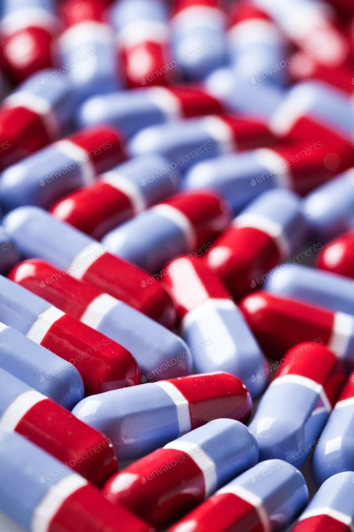 Red and blue tablets texture