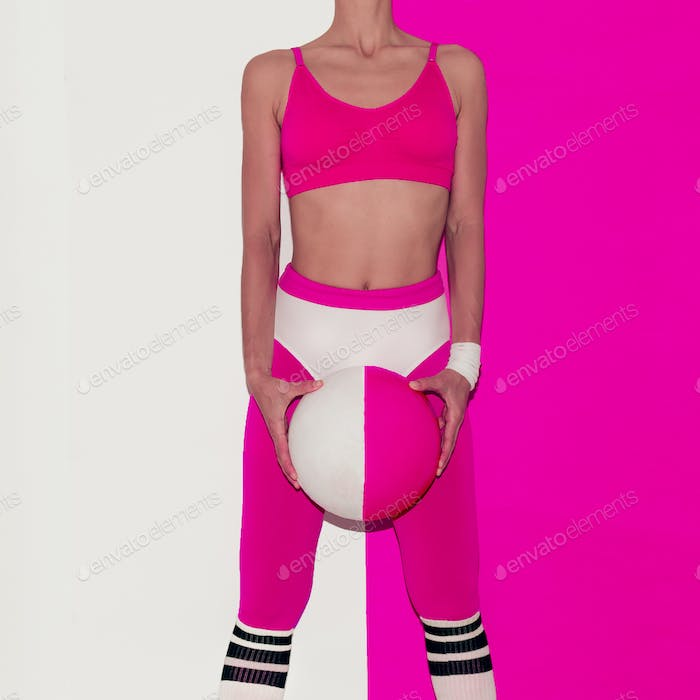 Fitness training vibration. Football. Pop art style. Fashion gir