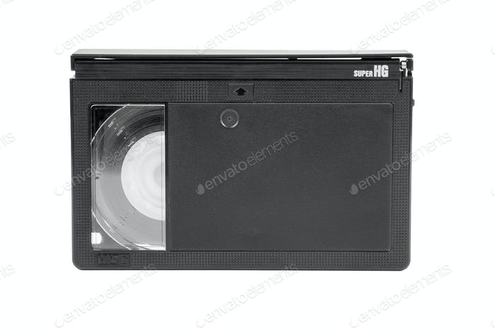 VHS-C video cassette on white background