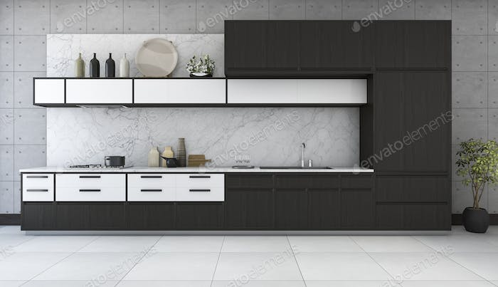 3d rendering minimal and retro kitchen in loft design