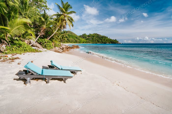 Mahe Island, Seychelles. Holiday vocation on the beautiful exotic Anse intendance tropical beach