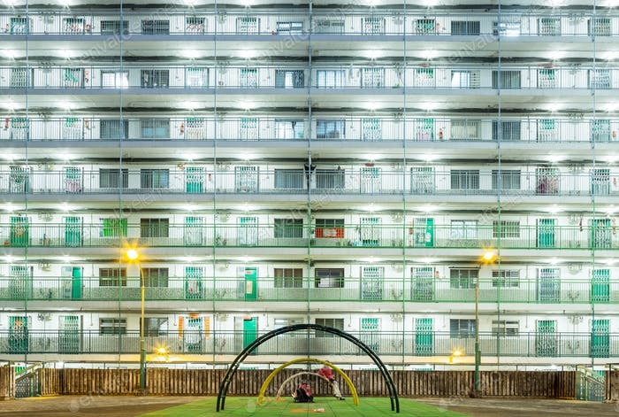 Public estate in Hong Kong at night