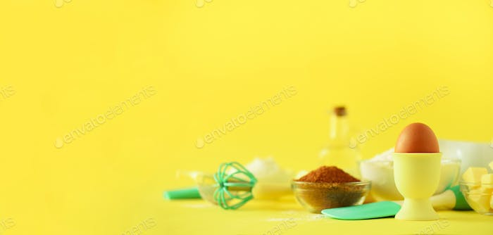 Time to bake. Baking ingredients - butter, sugar, flour, eggs, oil, spoon, rolling pin, brush, whisk