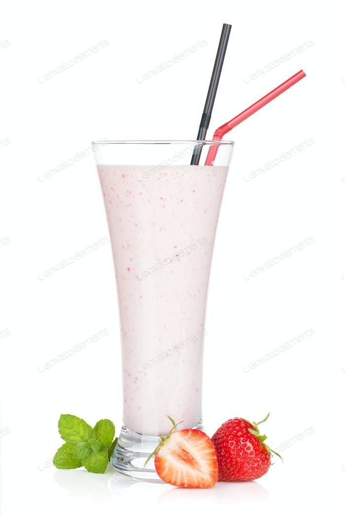 Strawberry milk smoothie cocktail