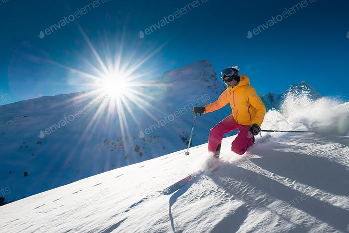 Girl telemark skiing