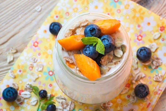 Yogurt with fruits.