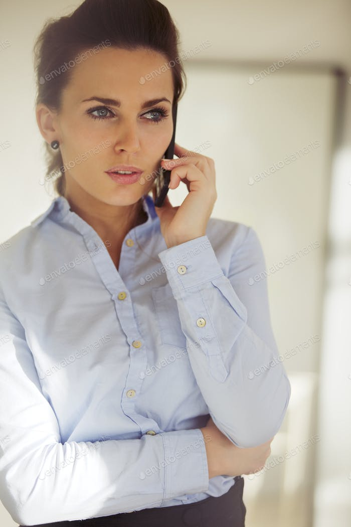 Elegant young woman talking business on the phone