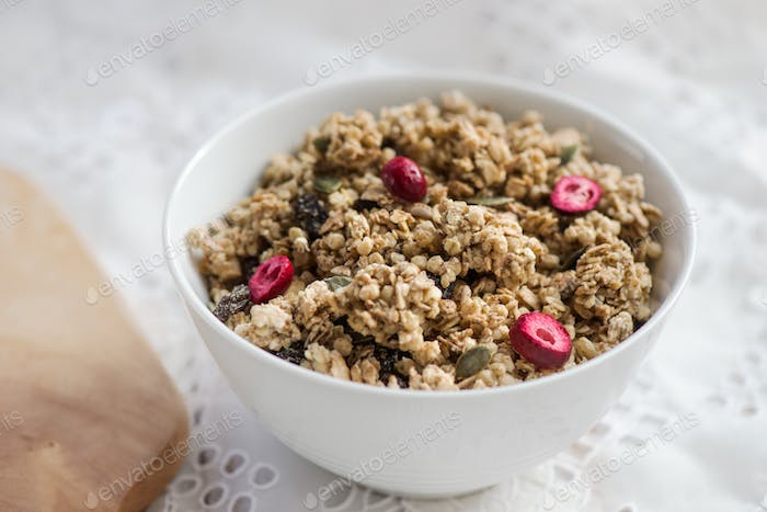 Granola made from Oat Porridge, Nuts, Seeds, Berries