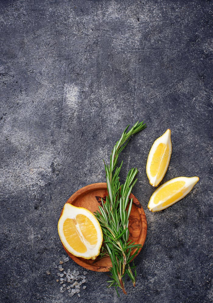 Rosemary, lemon and salt. Traditional spices for fish