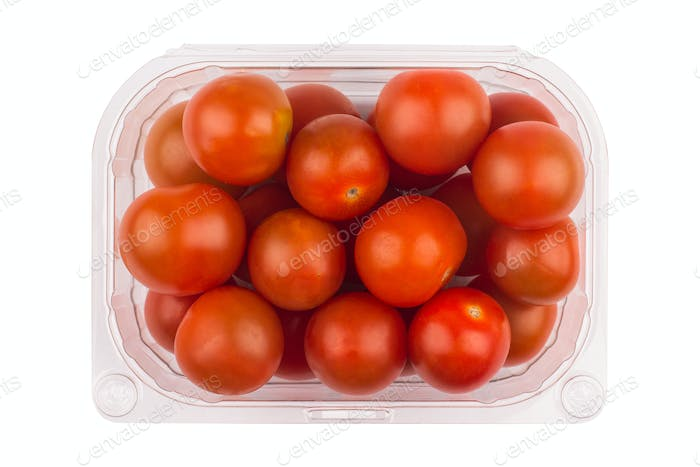 cherry tomatoes in plastic packaging
