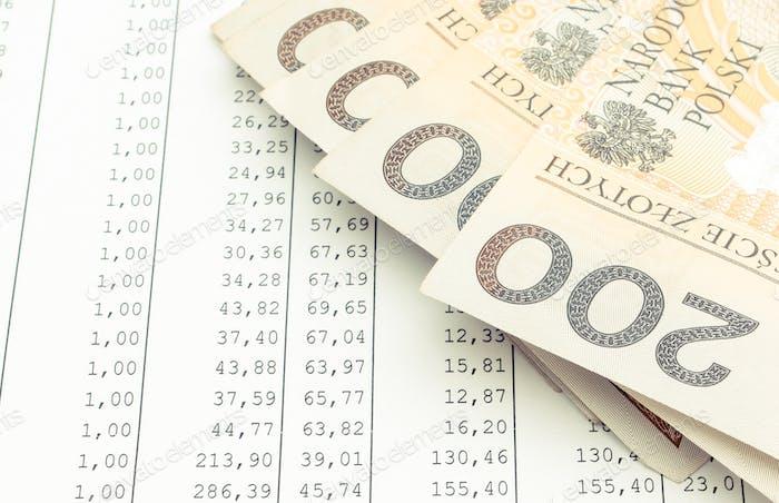 Polnische Währung Geld auf Tabellenkalkulation. Geschäftskonzept