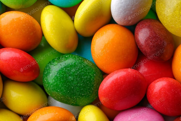 Multicolored round candies