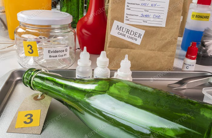 samples from a broken glass bottle in Criminalistic Lab, conceptual image