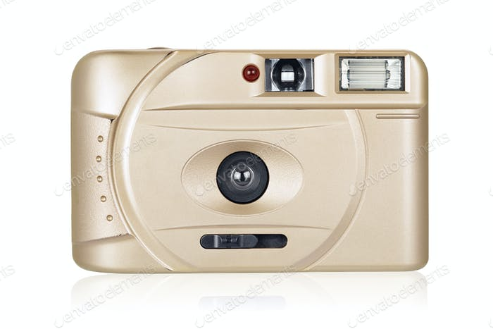 Film compact camera isolated on white background