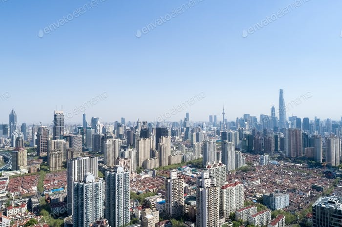 aerial view of shanghai cityscape, modern city skyline