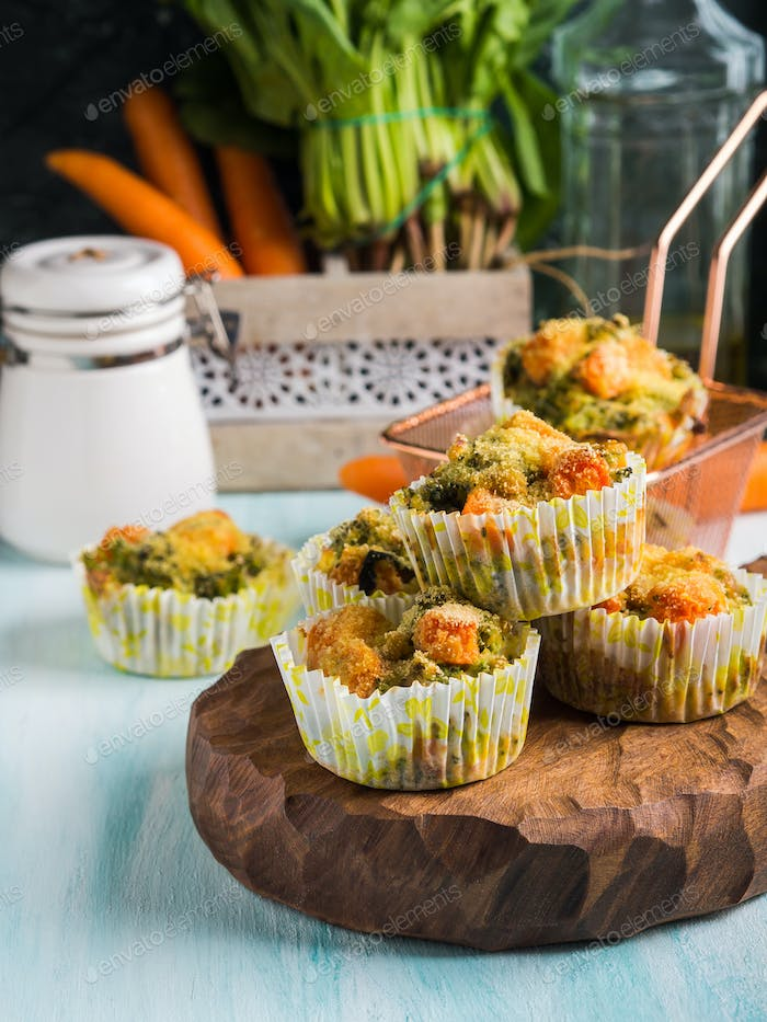 Healthy vegetable muffins with carrot and broccoli
