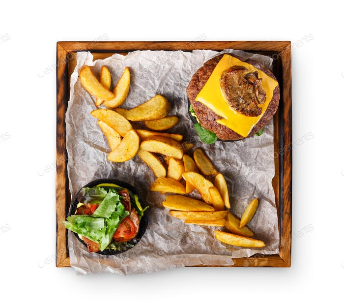 Take away burger menu on wooden tray isolated