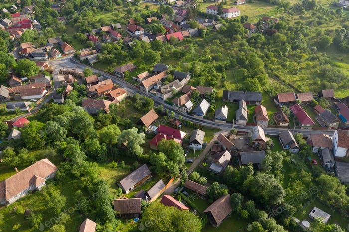 Aerial view of a village in Transylvania