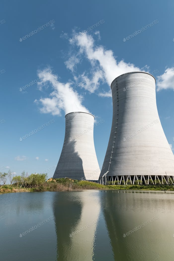 closeup of the cooling towers in an electric power plant
