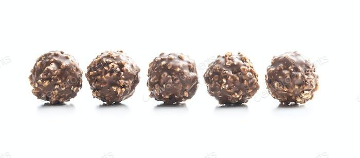 Sweet chocolate truffles. Tasty belgian pralines balls.