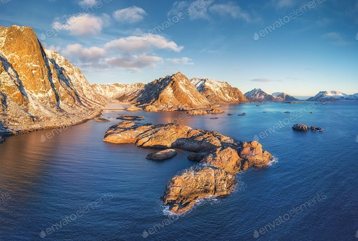 Lofoten islands, Norway. Aerial landscape with mountains, islands and ocean.