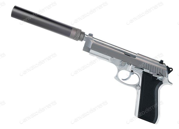Pistole mit Schalldämpfer