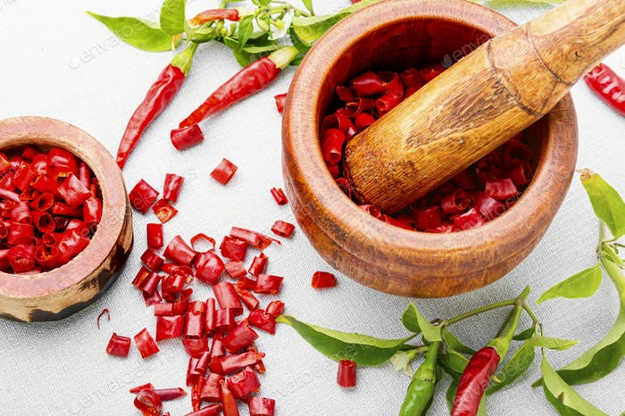 Sliced red chili or cayenne pepper