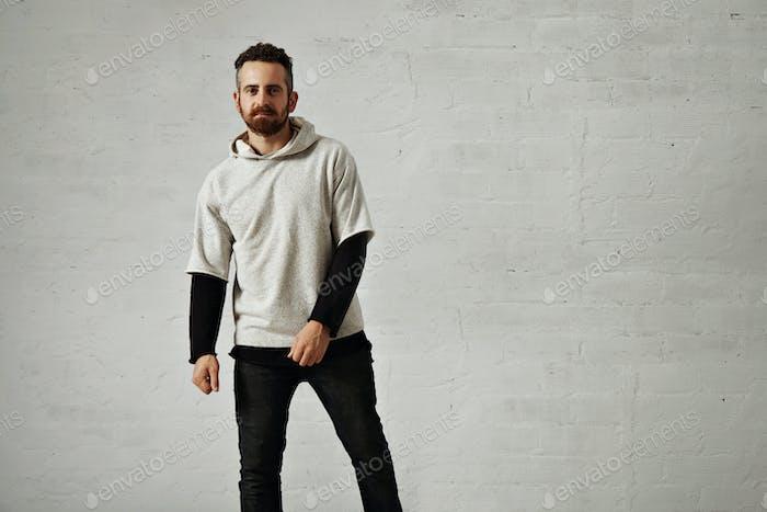 Man in a gray sweatshirt