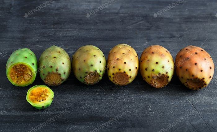 Colorful opuntia or prickly pear fruit on stone background