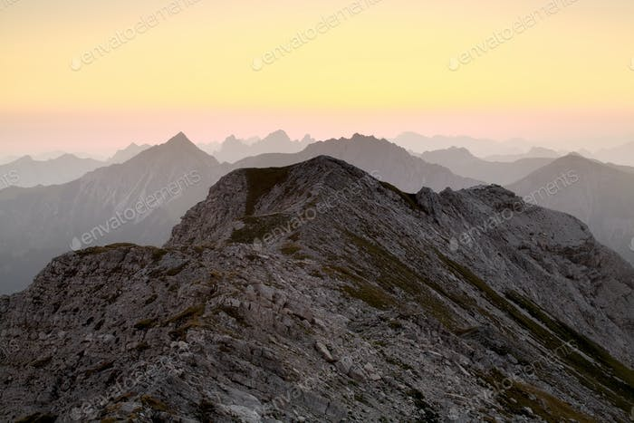 mountain ridge silhouette at dawn