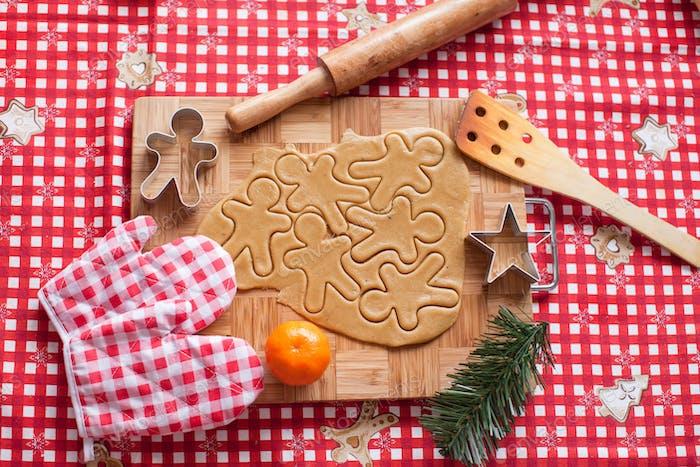 Hacer pan de jengibre hombre y galletas de Navidad