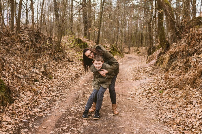 Mother and son in nature