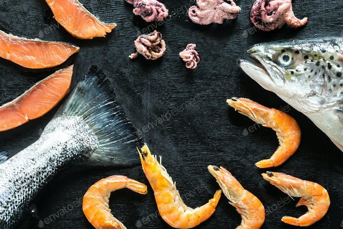 Seafood on black background