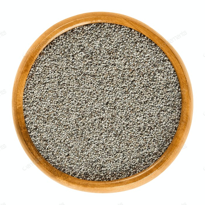 Gray poppy seeds in wooden bowl over white