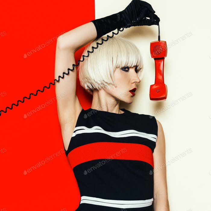 Blonde model retro style with vintage telephone Minimal Fashion