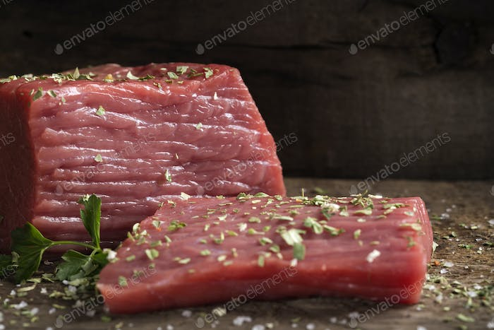 raw beef fillet with parsley