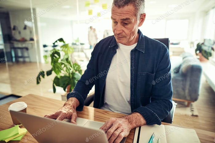 Focused mature businessman working on a laptop in an office