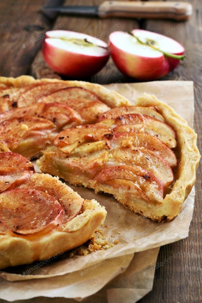 Sliced apple pie
