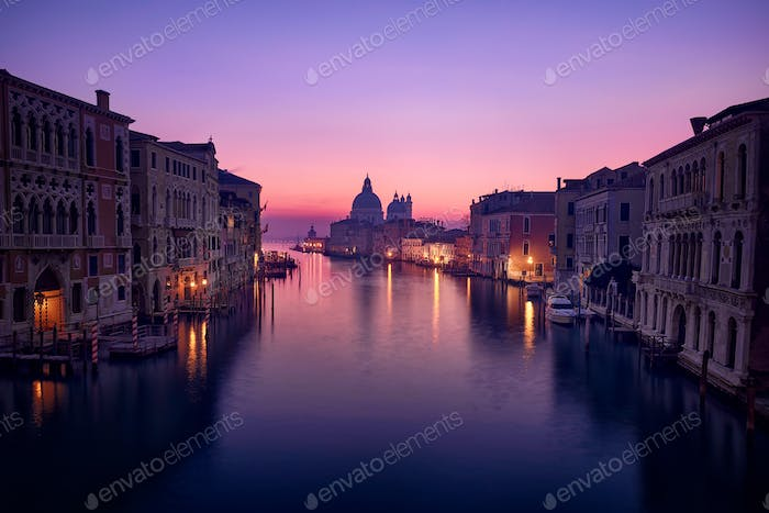 Blue hour and pink sunrise on the Grand Canal in Venice