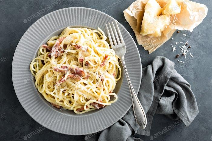 Carbonara pasta, spaghetti alla carbonara