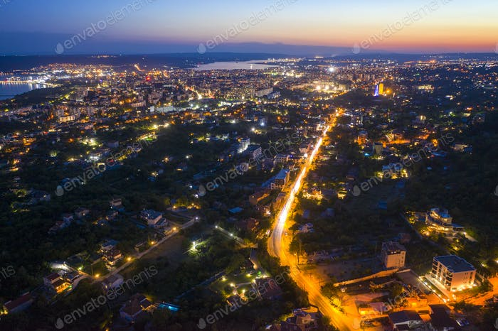 illuminated city