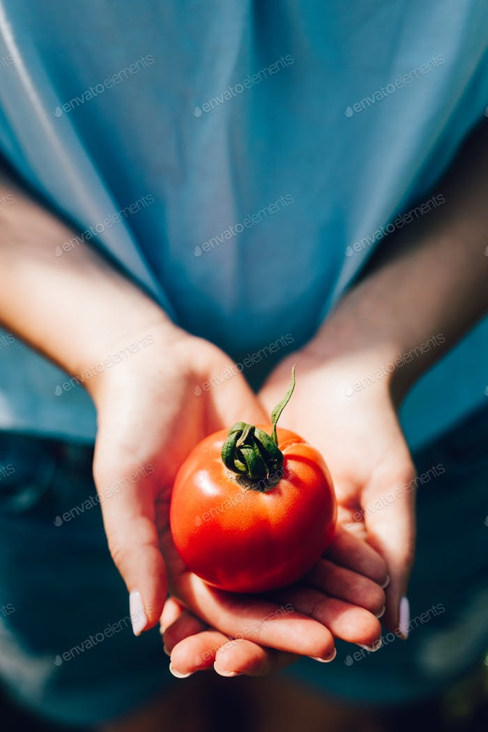 Woman holding tomato in her hands.
