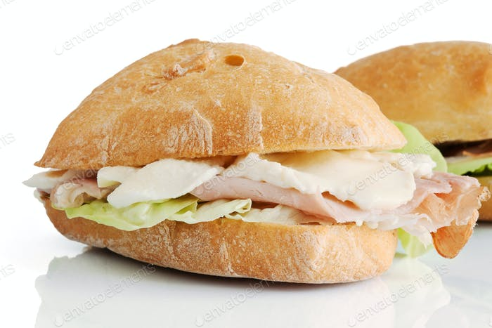 ham mozzarella and lettuce sandwhiches