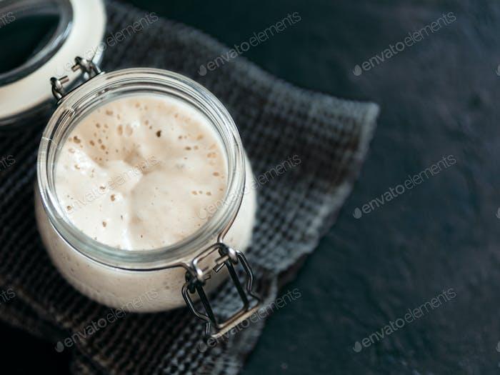 Wheat sourdough starter, copy space